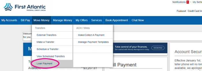 online banking loan payment menu screen shot 2