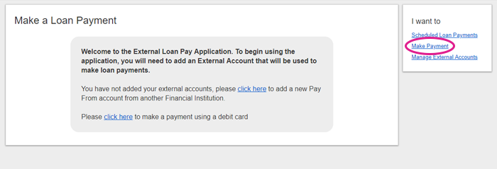 online banking loan payment add account screen shot 2