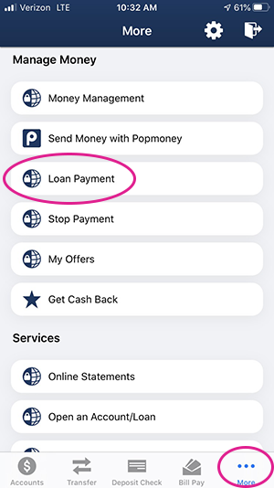 Mobile menu loan payment screen shot