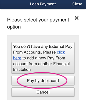 Mobile loan payment selection screen shot