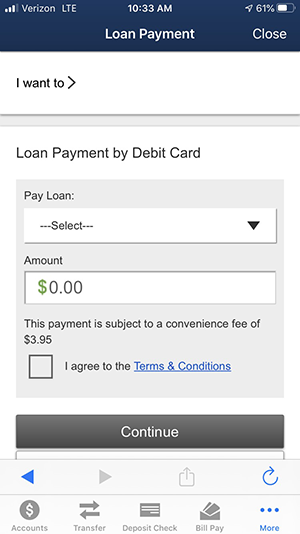 Mobile loan payment by debit card screen shot