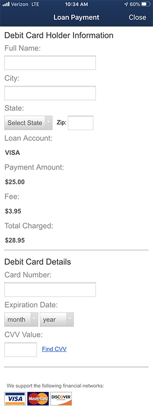 Mobile loan payment by debit card information screen shot