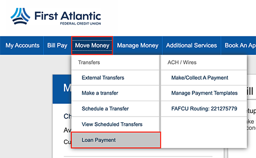 online banking loan payment menu screen shot