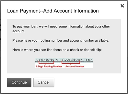 online banking loan payment add account screen shot