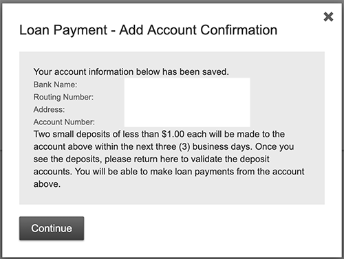 online banking loan payment add account confirmation screen shot