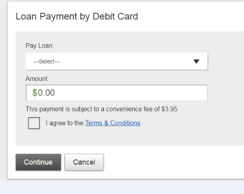 Loan payment by debit card screen shot
