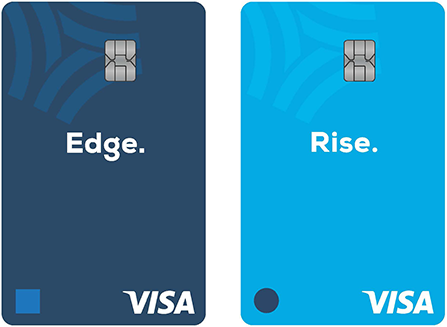 """Two debit cards - one in dark blue reads """"Edge"""", the other in teal reads """"Rise""""."""