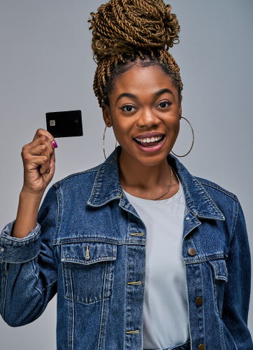Woman holding up a card