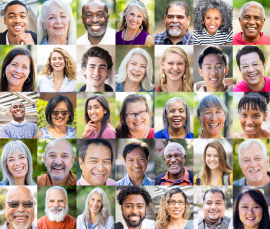 Diverse headshot collage of people smiling