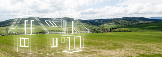 Imaginary house in the middle of a field