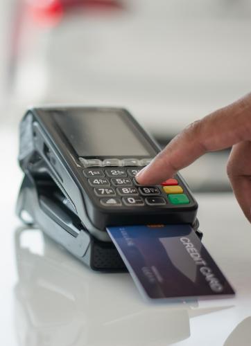 Machine running the debit card