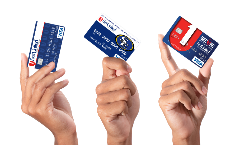 Three hands holding up a first united bank debit card