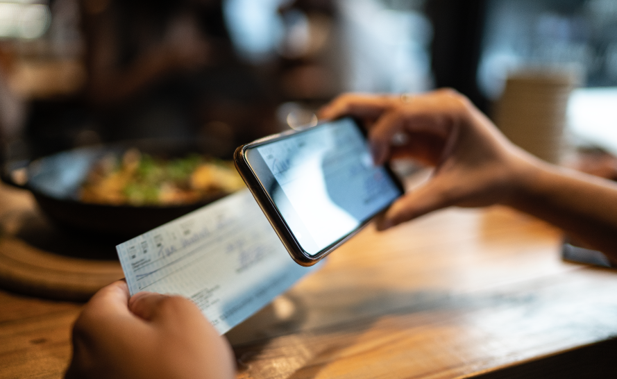 Hand remote deposit capture a check