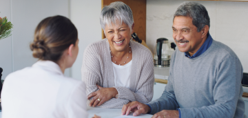 Senior couple meeting with life insurance agent