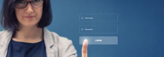 Customer touching login button