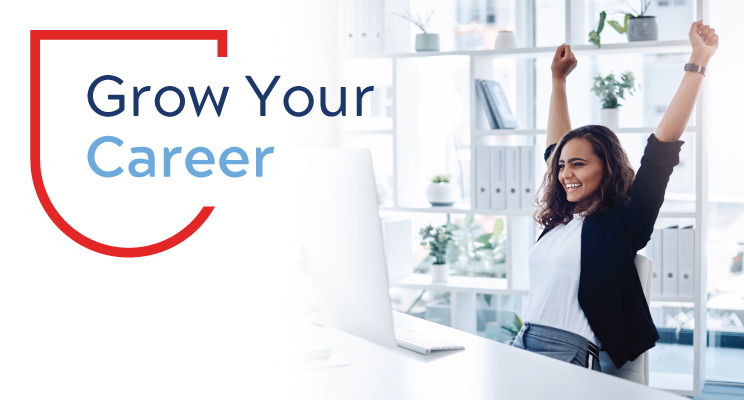 Grow Your Career Wisely with Woman with both arms raised up
