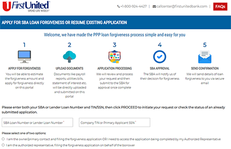 Portal Preview of the Forgiveness Portal Application for PPP Loans