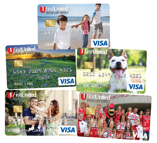 YouFirst debit cards in 5 different designs