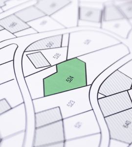 Map of land plots for building a new home
