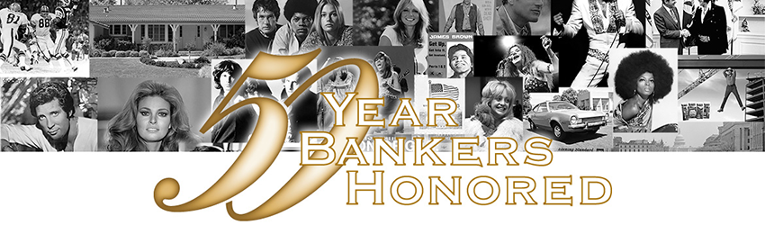 Collection of black and white photos with 50-Year Bankers Honored title