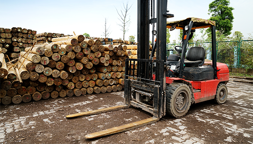 Forklift in a timber factory