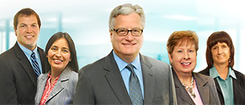 Group photo of Wealth Management department, including Jarod Gordon, Zoila Goodroe, Les Leskoven, Nancy Ward, and Cheryl Hill