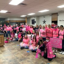 Corsicana employees wearing pink for company-wide Pink Out Day raising awareness for Breast Cancer