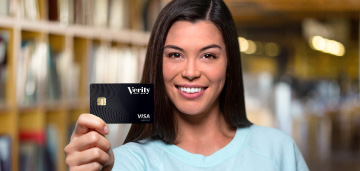 woman holding Verity business credit card