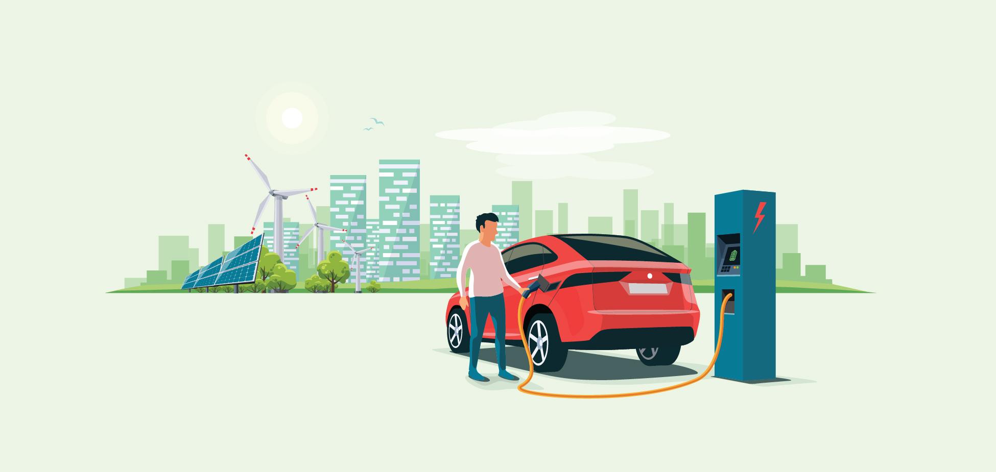 illustration person charging car