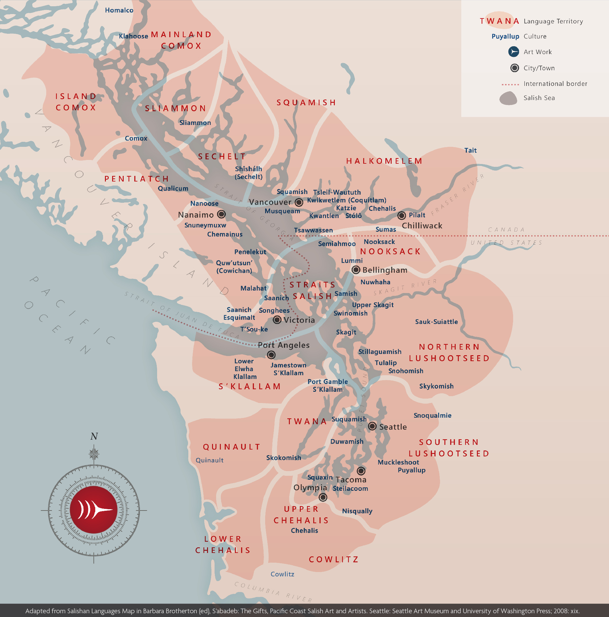 Map of Coast Salish languages and cultures