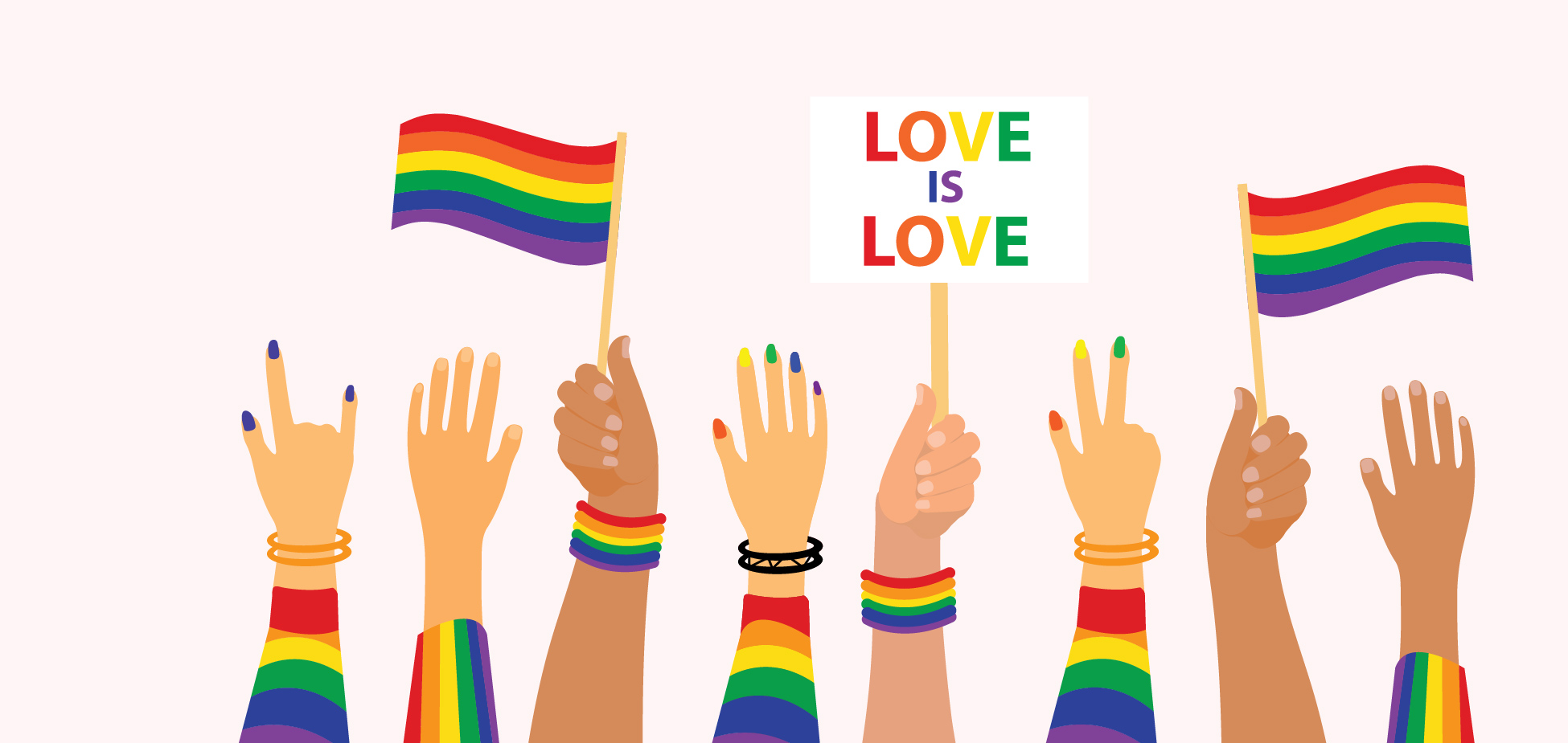 hands with rainbows and Pride flags