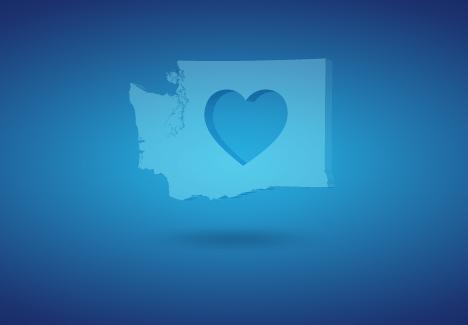 Washington state with heart inside