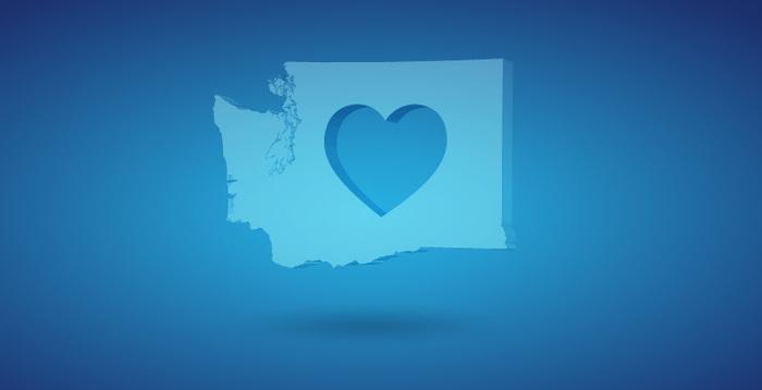 Washington State with a heart