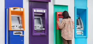 person using ATM
