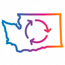 Washington state with arrow circles