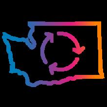 Washington state with arrow circles